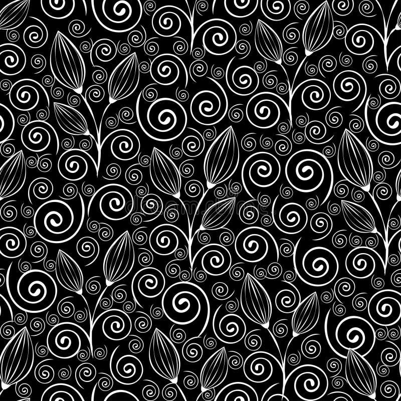 Αφηρημένο άνευ ραφής σχέδιο λουλουδιών, γραπτό σχέδιο περιλήψεων, γραμμική απεικόνιση, διανυσματικό μονοχρωματικό υπόβαθρο Άσπρο  διανυσματική απεικόνιση
