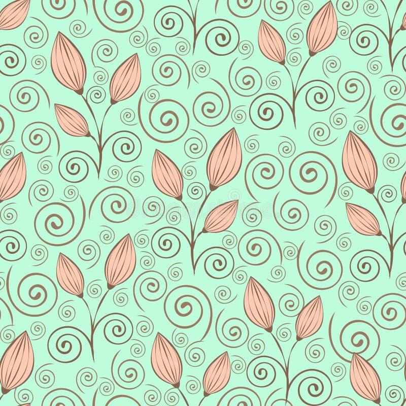 Αφηρημένο άνευ ραφής σχέδιο λουλουδιών, σχέδιο περιλήψεων, minimalistic απεικόνιση, διανυσματικό υπόβαθρο Κλειστοί ροζ οφθαλμοί λ απεικόνιση αποθεμάτων