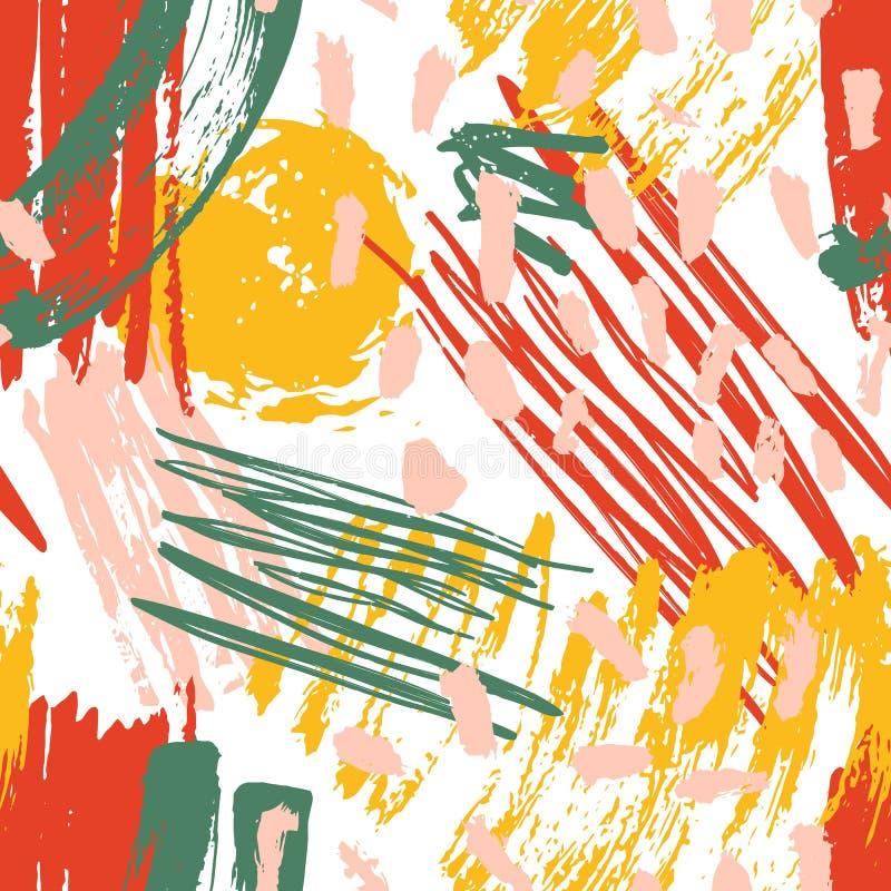 Αφηρημένο άνευ ραφής σχέδιο με τους λεκέδες χρωμάτων, κτυπήματα βουρτσών, επίχρισμα, κακογραφία στο άσπρο υπόβαθρο Καθιερώνον τη  απεικόνιση αποθεμάτων