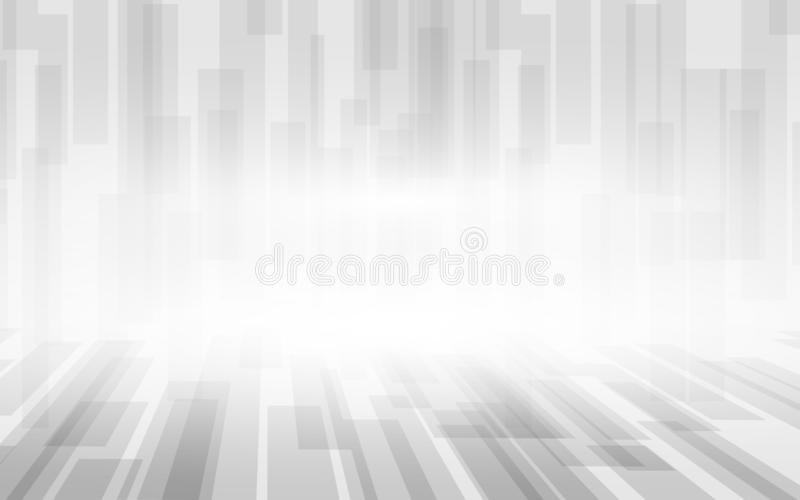 Αφηρημένο άσπρο και γκρίζο υπόβαθρο σχεδίων προοπτικής τετραγώνων απεικόνιση αποθεμάτων