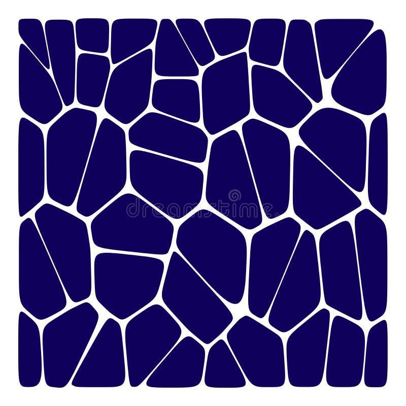 Αφηρημένο βαθύ μπλε και άσπρο γεωμετρικό υπόβαθρο voronoi Polygonal μωσαϊκό διανυσματική απεικόνιση