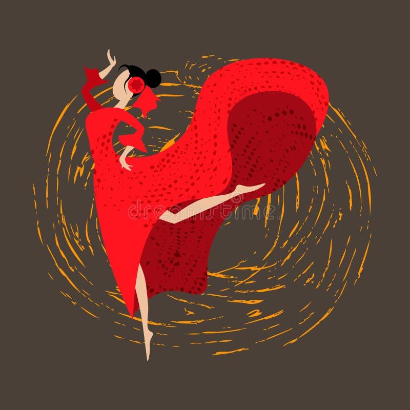 Αφηρημένο ισπανικό κορίτσι παραδοσιακό flamenco χορού φορεμάτων απεικόνιση αποθεμάτων