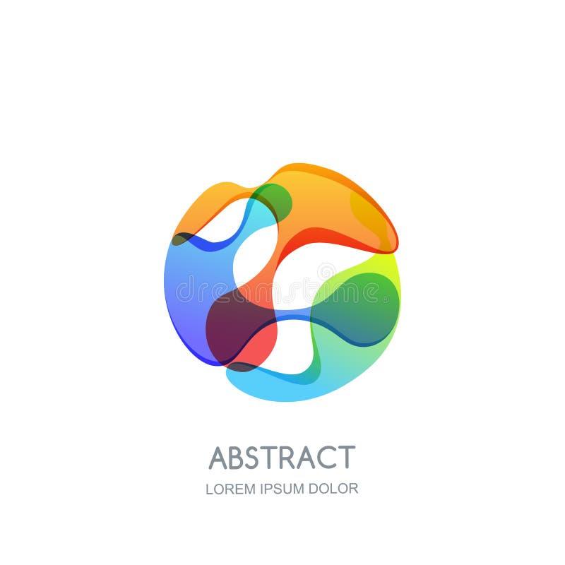 Αφηρημένο λογότυπο κύκλων, ετικέτα ή πρότυπο σχεδίου εμβλημάτων Διανυσματικό δονούμενο εικονίδιο κλίσης Ρευστή τρισδιάστατη μορφή διανυσματική απεικόνιση