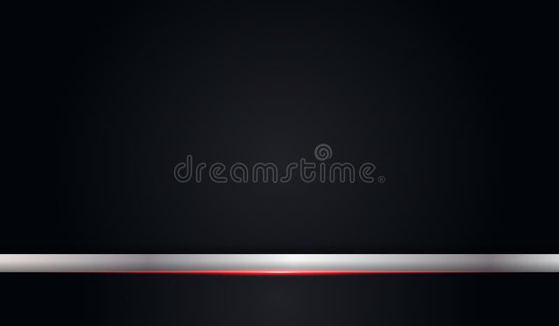 Αφηρημένο μεταλλικό κόκκινο λαμπρό μαύρο πλαίσιο χρώματος με το ασημένιο μετάλλων σχεδιαγράμματος σύγχρονο τεχνολογίας υπόβαθρο π διανυσματική απεικόνιση