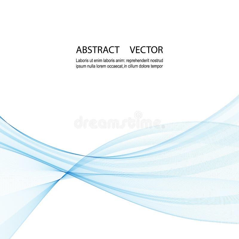 Αφηρημένο μπλε διανυσματικό υπόβαθρο κυμάτων για το φυλλάδιο, ιστοχώρος, σχέδιο ιπτάμενων μπλε κύμα καπνού διανυσματική απεικόνιση