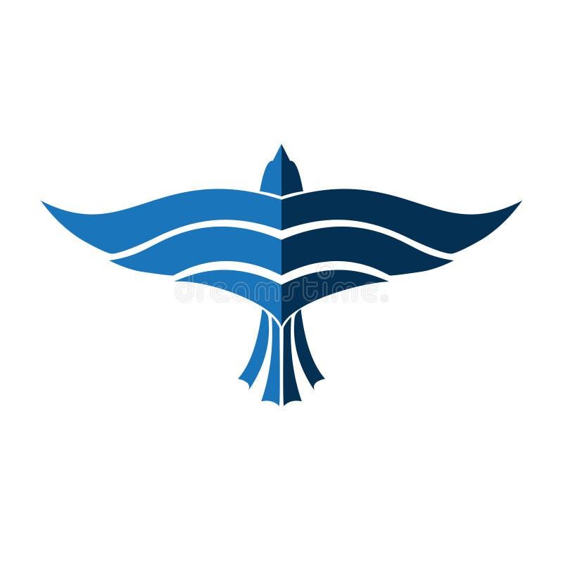 Αφηρημένο μπλε σύμβολο πουλιών αετών πτήσης μυγών αεροπλάνων διανυσματική απεικόνιση