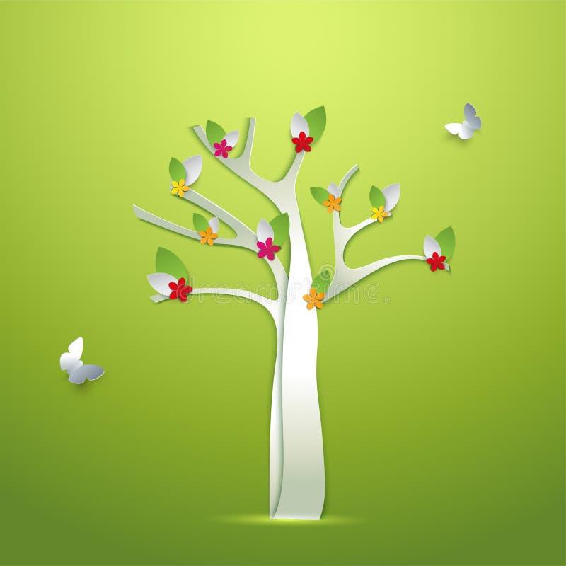 Αφηρημένο δέντρο άνοιξη εγγράφου με τα λουλούδια και την κάρτα πεταλούδων διανυσματική απεικόνιση