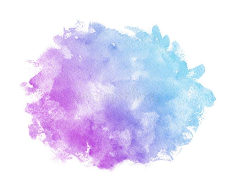 Αφηρημένο ρόδινο μπλε ιώδες πορφυρό watercolor στο άσπρο υπόβαθρο Το ράντισμα χρώματος στο έγγραφο Είναι ένα που σύρεται χέρι διανυσματική απεικόνιση