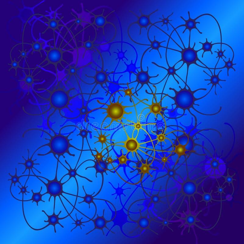Αφηρημένο σχέδιο των κύκλων που συνδέονται με τις γραμμές ως νευρώνες ή συνδέσεις μεταξύ των πλανητών διανυσματική απεικόνιση