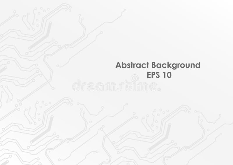 Αφηρημένο τεχνολογικό και άσπρο υπόβαθρο κυκλωμάτων Διανυσματικό σχέδιο απεικόνισης διανυσματική απεικόνιση