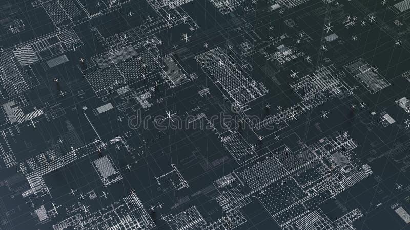 Αφηρημένο τεχνολογικό υπόβαθρο με τις άσπρες γραμμές διανυσματική απεικόνιση
