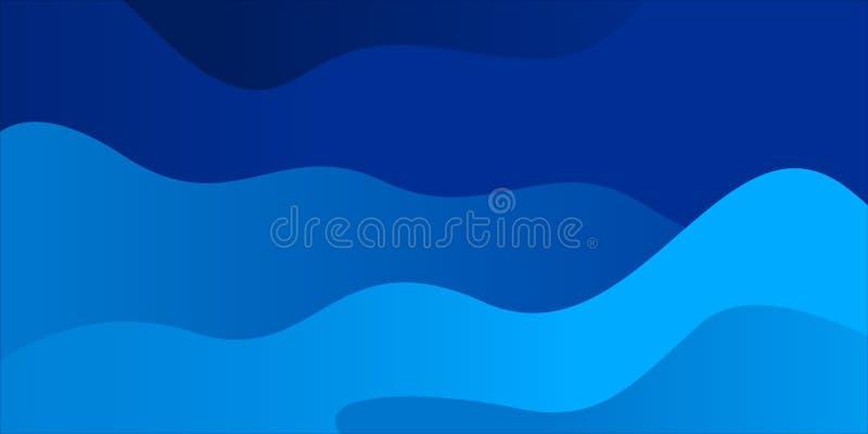 Αφηρημένο υπόβαθρο κυμάτων με το μπλε χρώμα διανυσματική απεικόνιση