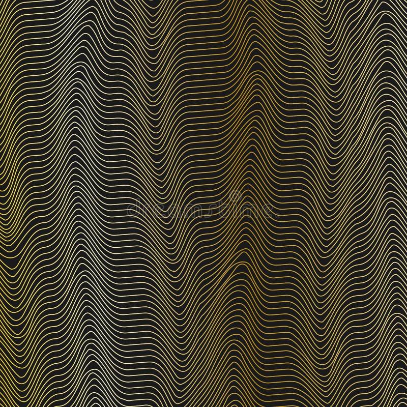 Αφηρημένο υπόβαθρο πλέγματος με τις κυματιστές χρυσές γραμμές δυναμικού σχεδίου κυματοειδούς των λωρίδων γραμμών η τρέχουσα ροή τ διανυσματική απεικόνιση