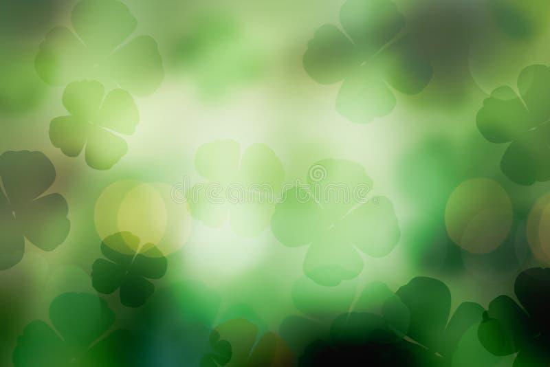 Αφηρημένο πράσινο υπόβαθρο τριφυλλιών ημέρας του ST Πάτρικ για το σχέδιο στοκ φωτογραφία
