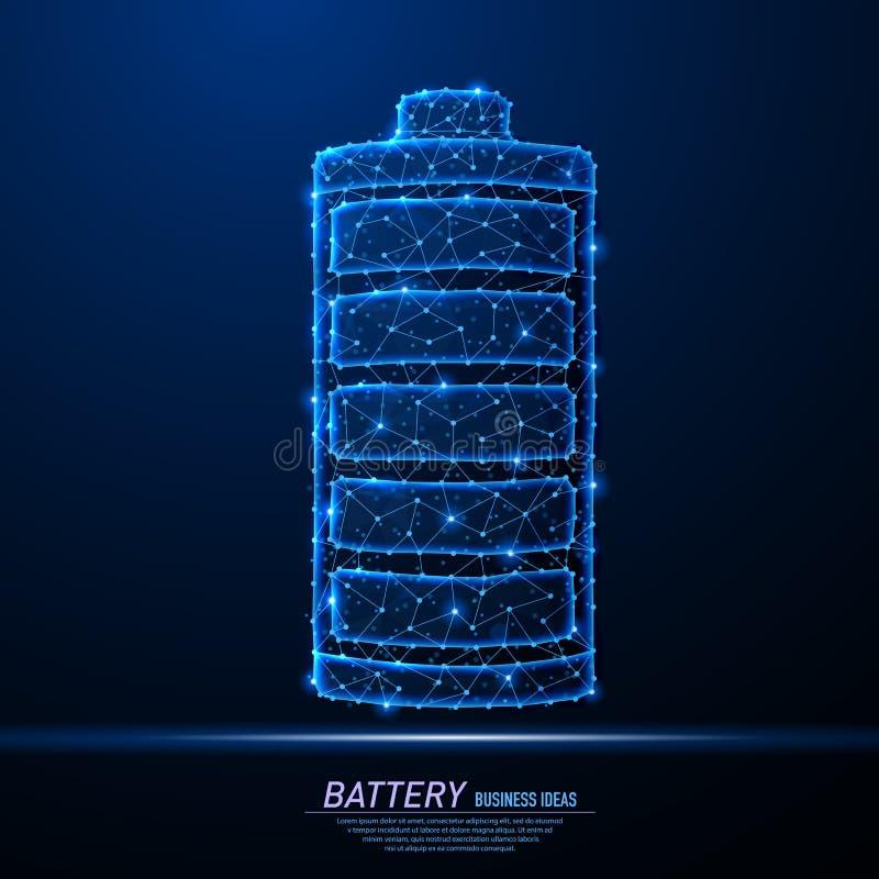 Αφηρημένο polygonal φως του εικονιδίου φόρτισης μπαταριών ελεύθερη απεικόνιση δικαιώματος