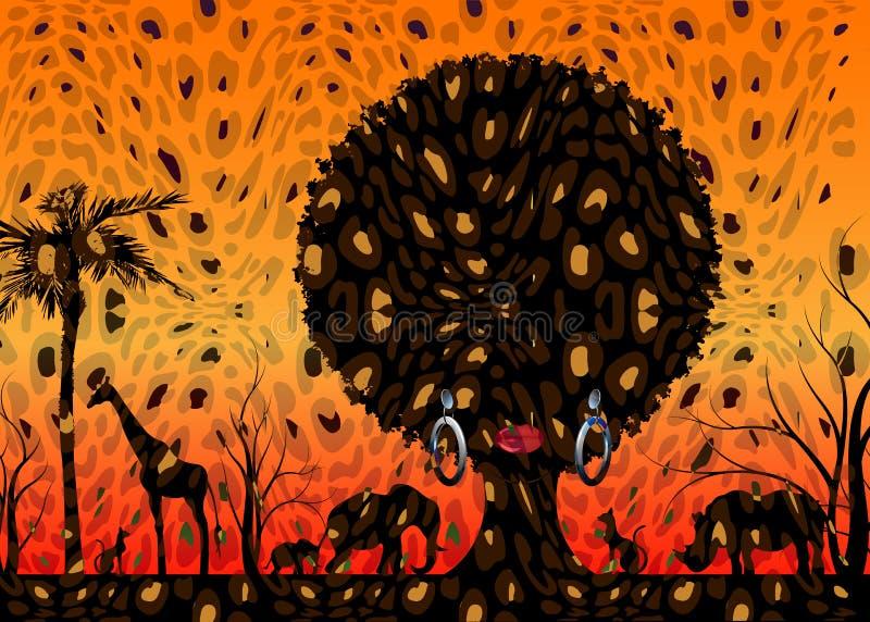 Αφρικανική αφρικανική γυναίκα σκηνής και πορτρέτου τοπίων σκιαγραφιών σαφάρι ζωική στην παραδοσιακή τρίχα σγουρή Δέντρο της έννοι διανυσματική απεικόνιση
