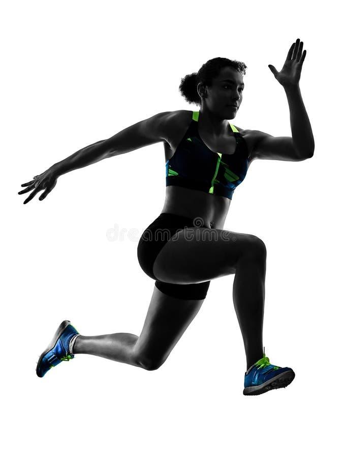 Αφρικανικός δρομέας που τρέχει sprinter τρέχοντας γρήγορα απομονωμένο το γυναίκα άσπρο β στοκ φωτογραφία