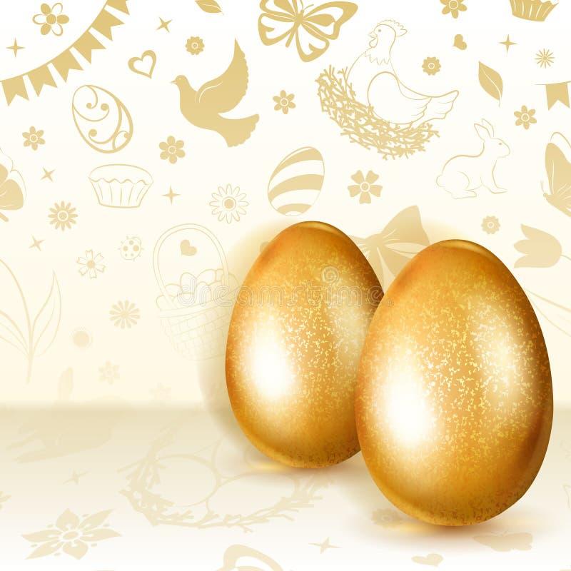 αυγά Πάσχας χρυσά δύο ελεύθερη απεικόνιση δικαιώματος