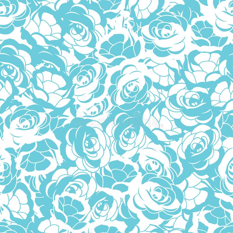 Αυξήθηκε άσπρο και τυρκουάζ άνευ ραφής διανυσματικό υπόβαθρο σχεδίων λουλουδιών διανυσματική απεικόνιση