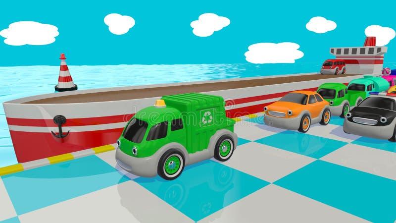 Αυτοκίνητα και σκάφος παιχνιδιών τρισδιάστατος δώστε απεικόνιση αποθεμάτων