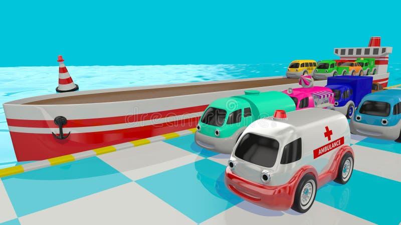 Αυτοκίνητα και σκάφος παιχνιδιών τρισδιάστατος δώστε διανυσματική απεικόνιση