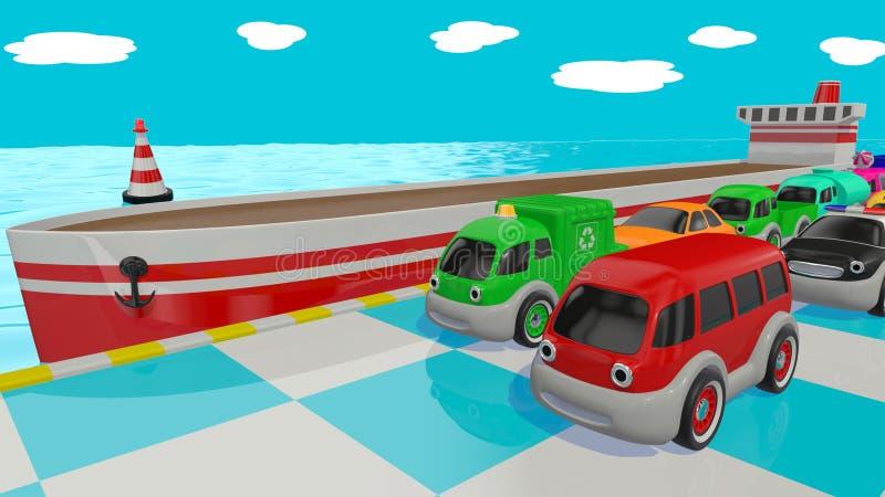 Αυτοκίνητα και σκάφος παιχνιδιών τρισδιάστατος δώστε ελεύθερη απεικόνιση δικαιώματος