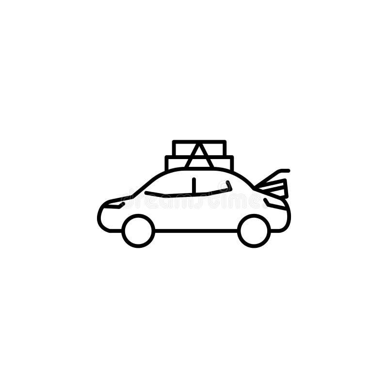 αυτοκίνητο, ταξί, υπέρβαρο εικονίδιο Στοιχείο του υπέρβαρου πολιτισμού Λεπτό εικονίδιο για το σχέδιο ιστοχώρου και την ανάπτυξη,  απεικόνιση αποθεμάτων