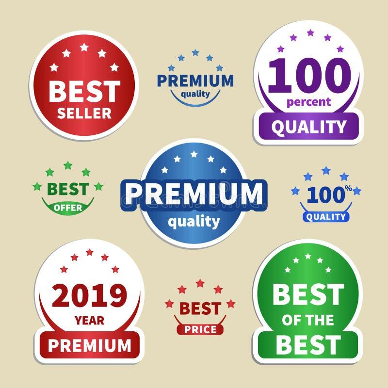 Αυτοκόλλητες ετικέττες εγγράφου συλλογής ζωηρόχρωμες ετικέτες για τα προγράμματά σας Καλύτερος πωλητής, ασφάλιστρο, 100 ποιότητα, απεικόνιση αποθεμάτων