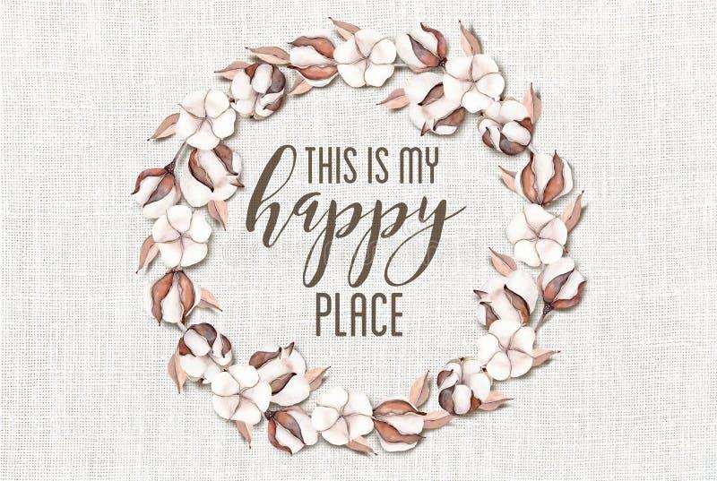 Αυτό είναι το ευτυχές Floral στεφάνι βαμβακιού θέσεών μου με το ξύλινο Shabby κομψό υπόβαθρο στοκ φωτογραφία