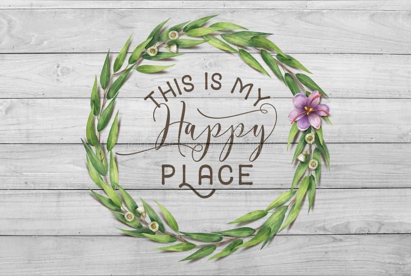 Αυτό είναι το ευτυχές Floral στεφάνι βαμβακιού θέσεών μου με το ξύλινο Shabby κομψό υπόβαθρο διανυσματική απεικόνιση
