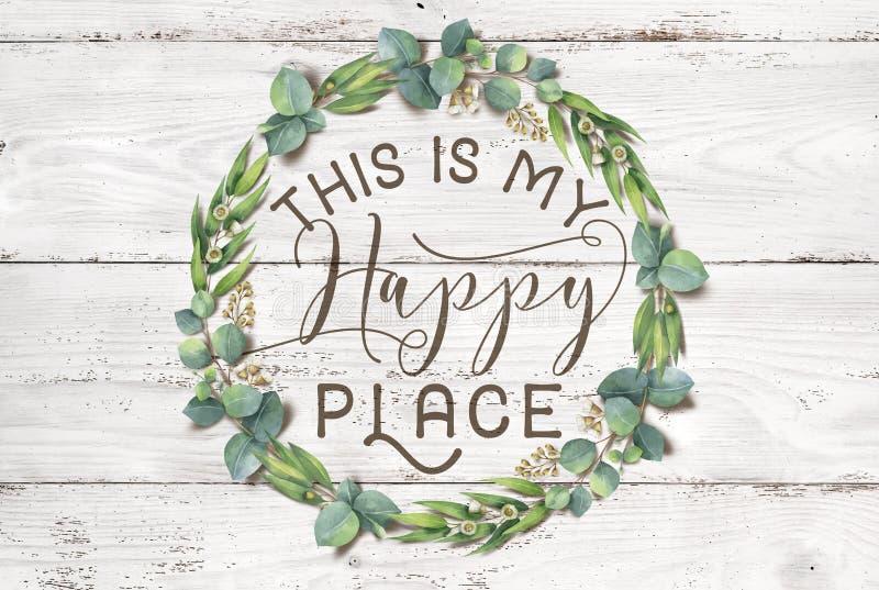 Αυτό είναι το ευτυχές Floral στεφάνι βαμβακιού θέσεών μου με το ξύλινο Shabby κομψό υπόβαθρο ελεύθερη απεικόνιση δικαιώματος