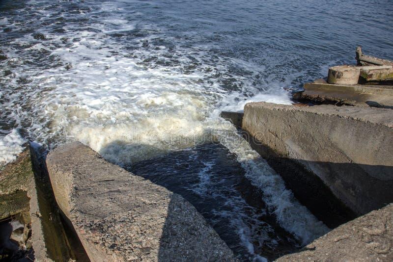 Απαλλαγή του βρώμικου βιομηχανικού απόβλητου ύδατος στη θάλασσα Δηλητηρίαση της περιοχής αναψυχής από την εξάπλωση της ασθένειας, στοκ εικόνα με δικαίωμα ελεύθερης χρήσης