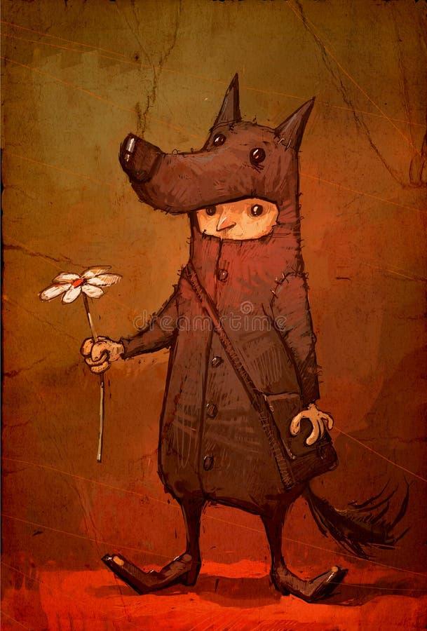 Απεικόνιση ενός χαρακτήρα για διακοπές Εικόνα ενός αγοριού σε ένα κοστούμι καρναβαλιού ενός λύκου που δίνει ένα λουλούδι απεικόνιση αποθεμάτων