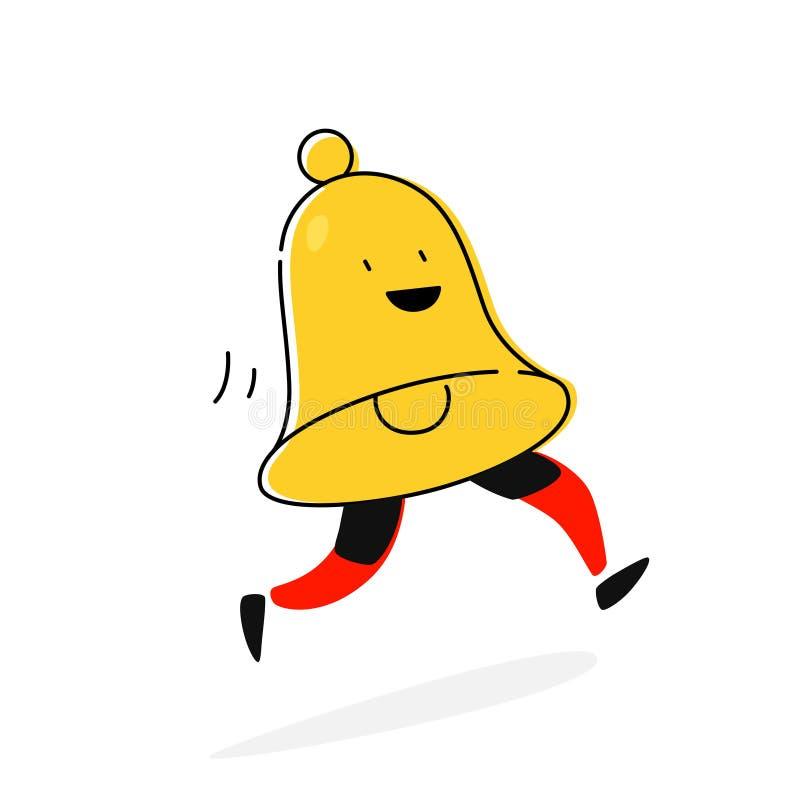 Απεικόνιση ενός χαρακτήρα κουδουνιών διάνυσμα Επίπεδο εικονίδιο aler Συνδρομή στα κοινωνικά δίκτυα Ύφος κινούμενων σχεδίων Η εικό απεικόνιση αποθεμάτων
