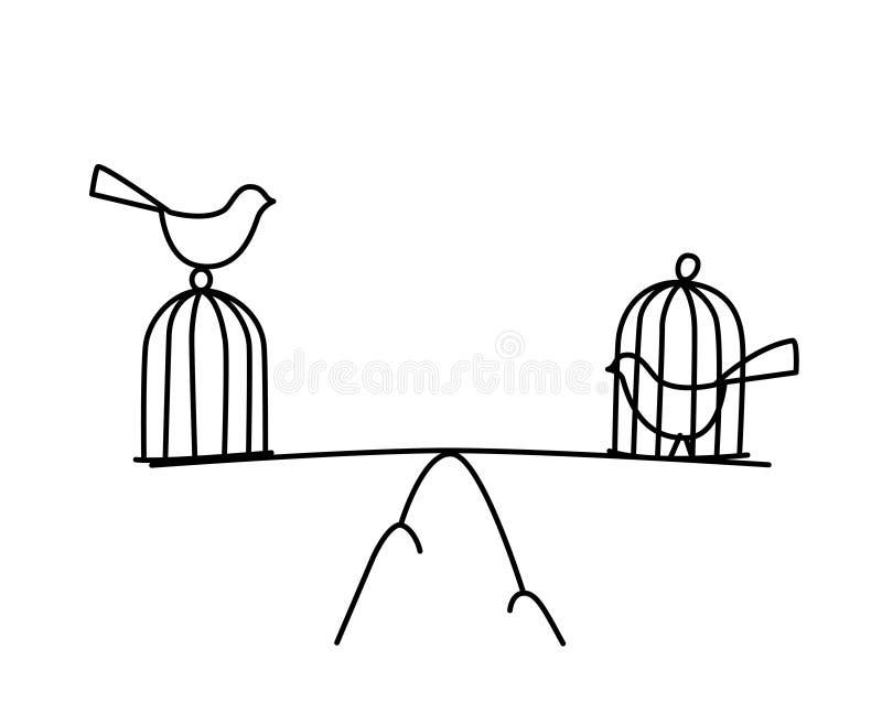 Απεικόνιση ενός πουλιού σε ένα κλουβί και συνολικά διάνυσμα Ελευθερία και φυλακή Η ισορροπία μεταξύ της ελευθερίας και της φυλάκι ελεύθερη απεικόνιση δικαιώματος