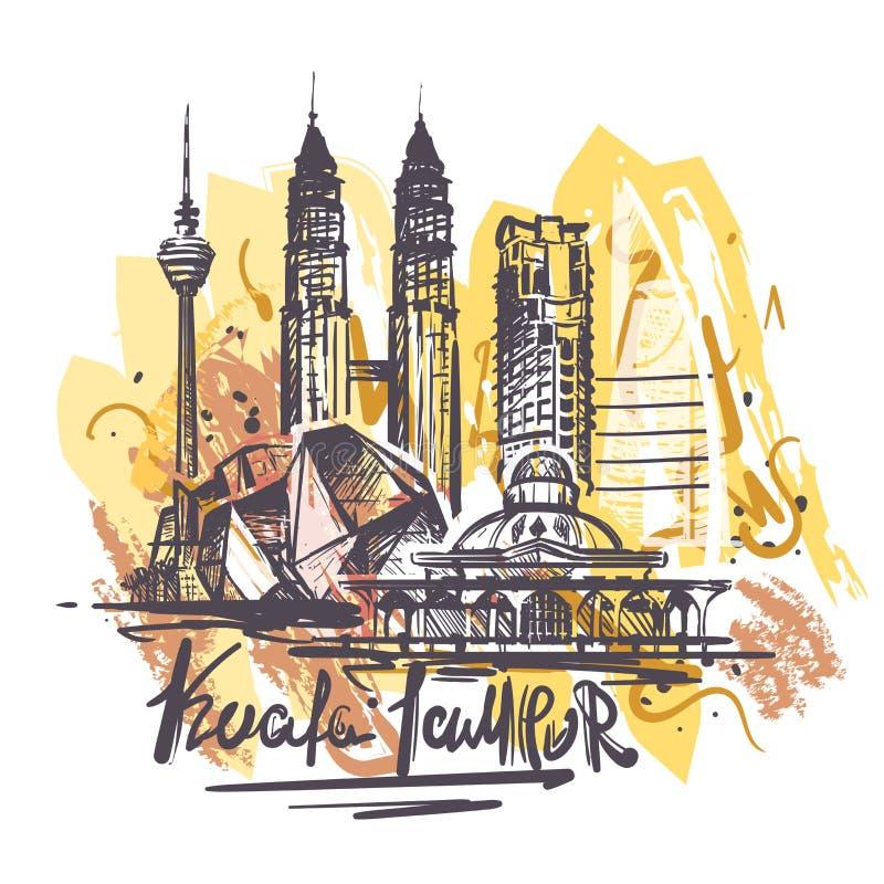Απεικόνιση σχεδίων χρώματος της Κουάλα lampur που απομονώνεται αφηρημένη διανυσματική απεικόνιση