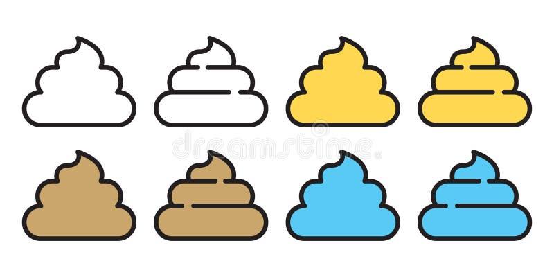 Απεικόνιση συμβόλων κουταβιών χαρακτήρα κινουμένων σχεδίων λογότυπων σκυλιών εικονιδίων τουαλετών Poo doodle διανυσματική απεικόνιση