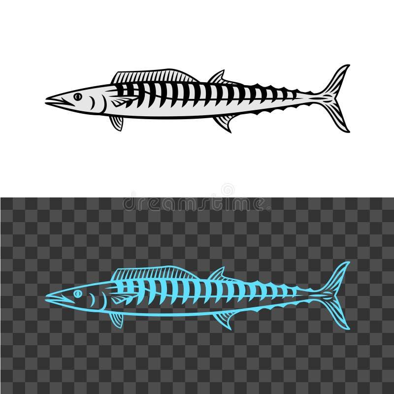 Απεικόνιση ψαριών Wahoo Μαύρο σημάδι σκουμπριών βασιλιάδων απεικόνιση αποθεμάτων