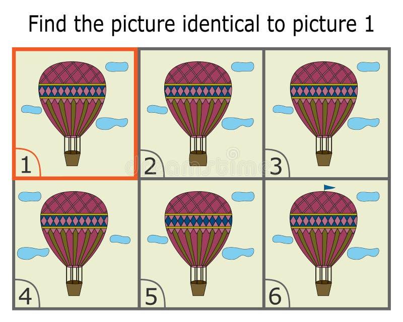 Απεικόνιση της εύρεσης δύο ίδιων εικόνων Εκπαιδευτικό παιχνίδι για τα παιδιά απεικόνιση αποθεμάτων