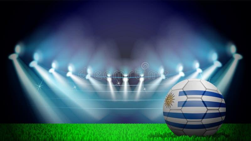 απεικόνιση της ρεαλιστικής σφαίρας ποδοσφαίρου που χρωματίζεται στη εθνική σημαία της Ουρουγουάης στο αναμμένο στάδιο Το διάνυσμα απεικόνιση αποθεμάτων