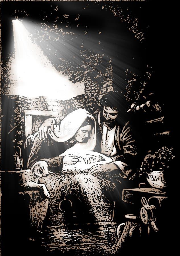 Απεικόνιση της σκηνής Nativity Χριστουγέννων απεικόνιση αποθεμάτων
