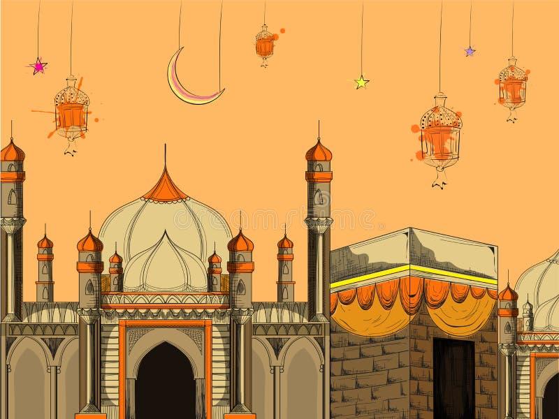 Απεικόνιση του ιερού μουσουλμανικού τεμένους με το kaaba και τις κρεμώντας διακοσμήσεις ελεύθερη απεικόνιση δικαιώματος