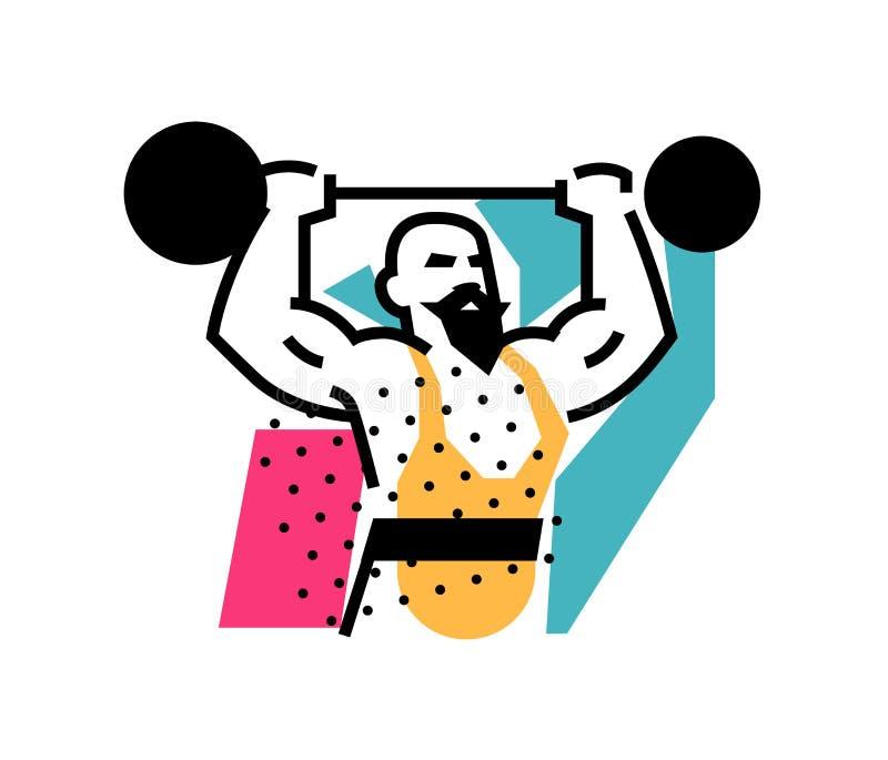 Απεικόνιση του ισχυρού άνδρα, weightlifter, τσίρκο Λογότυπο εικονιδίων για το τσίρκο ή το αθλητικό στούντιο Μια απεικόνιση για μι ελεύθερη απεικόνιση δικαιώματος
