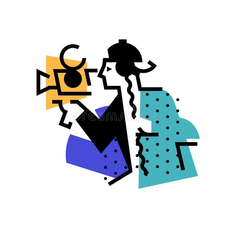 Απεικόνιση του χειριστή, διευθυντής Εικονίδιο ενός ατόμου με μια κάμερα κινηματογράφων Άτομο της εικαστηκής τέχνης Διανυσματική ε ελεύθερη απεικόνιση δικαιώματος