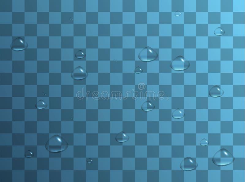 Απελευθερώσεις νερού Σταγόνες βροχής ή ντους, συμπύκνωση στο γυαλί Δροσιά μετά από τη βροχή Απομονωμένος στο διαφανές υπόβαθρο ελεύθερη απεικόνιση δικαιώματος