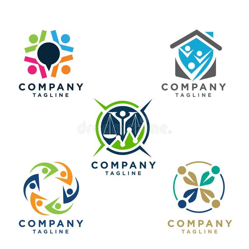 Απλή έννοια για το ζωηρόχρωμο κοινοτικό λογότυπο ανθρώπων διανυσματική απεικόνιση