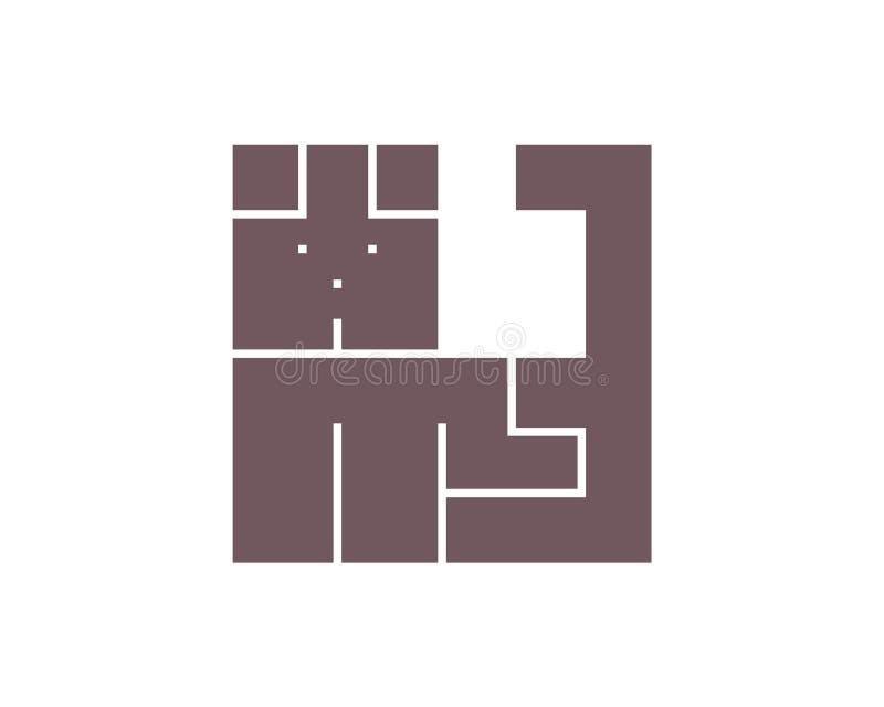Απλό σημάδι simbol κατοικίδιων ζώων ύφους λογότυπων σκυλιών ελεύθερη απεικόνιση δικαιώματος