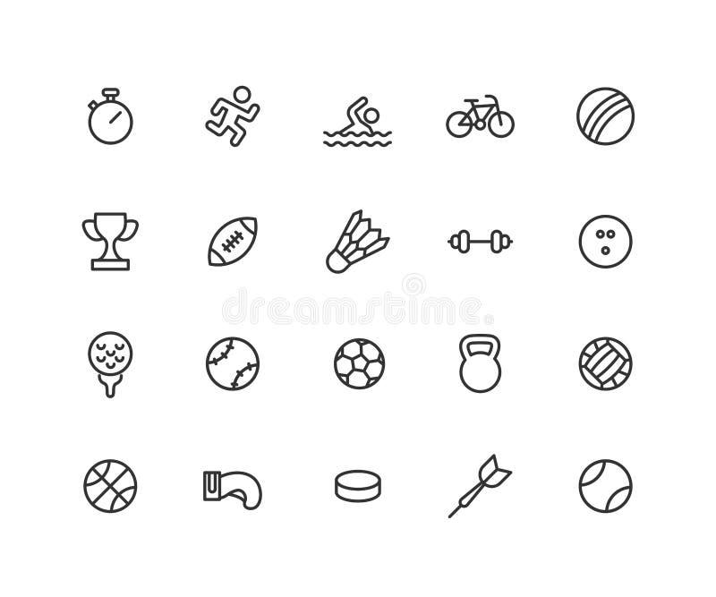 Απλό σύνολο διανυσματικών εικονιδίων γραμμών αθλητικών παιχνιδιών Περιέχει τέτοια εικονίδια όπως τη σφαίρα, το ποδήλατο, το ποδόσ ελεύθερη απεικόνιση δικαιώματος