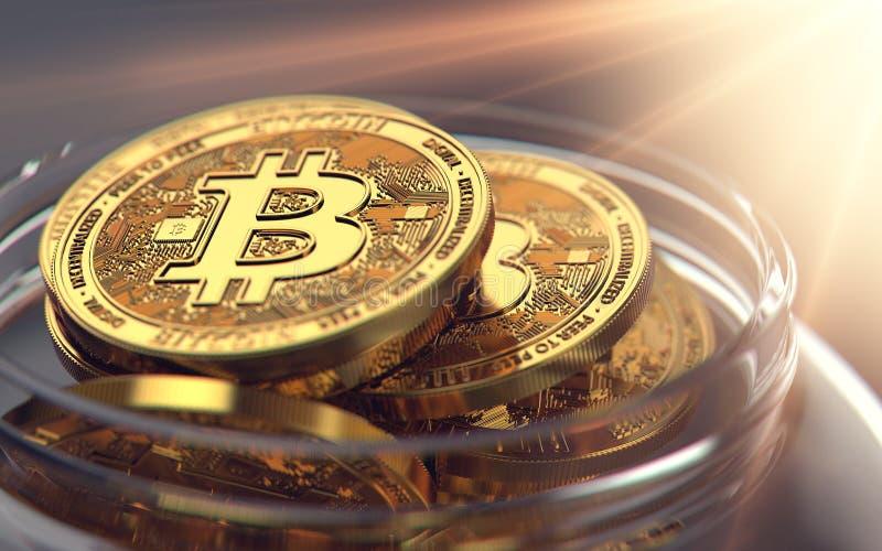 Αποθήκευση Bitcoins στο βάζο περιμένοντας τις καλές ευκαιρίες πώλησης τρισδιάστατη απόδοση απεικόνιση αποθεμάτων