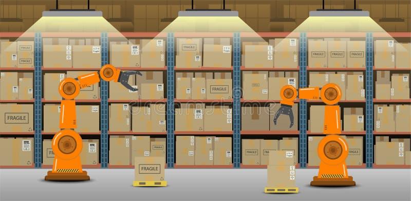 Αποθήκη εμπορευμάτων με τα όπλα ρομπότ διανυσματική απεικόνιση
